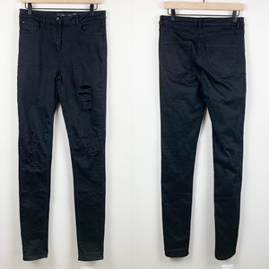 Long Tall Sally   Distressed Black Skinny Jeans